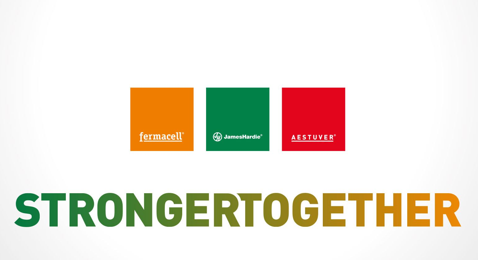 strongertogether fermacell Logo, Aestuver Logo, Jameshardie Logo